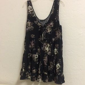 Lace up babydoll floral dress